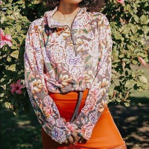 Urban outfitters floral zip up pullover